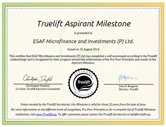 ESAF certificate image